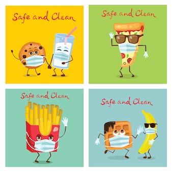 ワッフル、バナナ、クッキー、ガラスの牛乳、ピザ、防護マスクのフレンチポテトの漫画のスタイルのキャラクターのセットです。安全で清潔な食品のコンセプト。フラットスタイルでコロナウイルスから保護します。