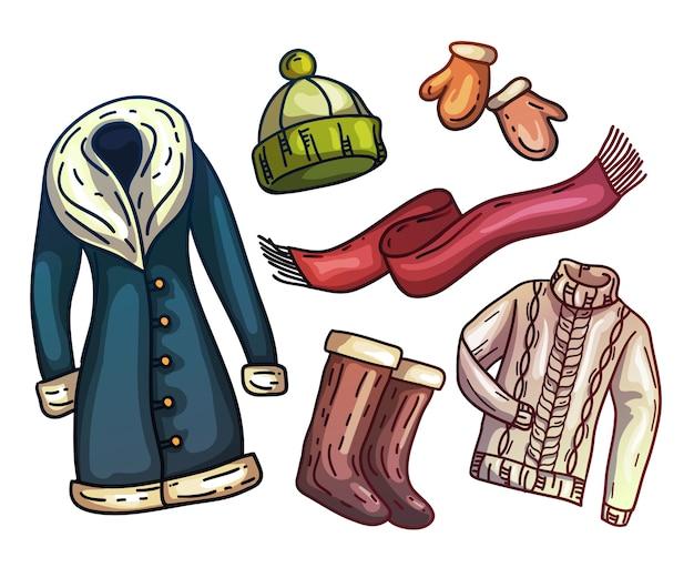 暖かい冬の服とアクセサリーのセット。おしゃれなセット服。スカーフ、冬用帽子、冬用コート、ブーツ、ファー付き暖かい手袋