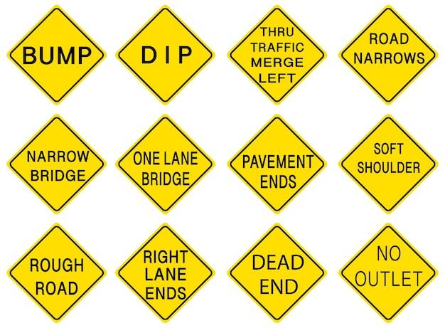 Набор предупреждающих дорожных знаков на белом фоне