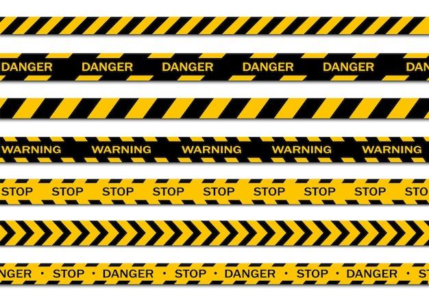 흰색 배경에 고립 된 경고 테이프의 집합입니다. 경고 테이프, 위험 테이프, 주의 테이프, 공사중 테이프. 벡터 일러스트 레이 션