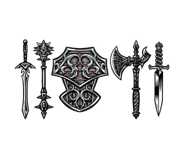 戦士の武器のセット、デジタルカラーで手描きの線スタイル