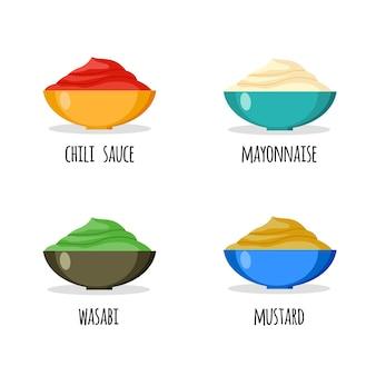 Набор из васаби, майонеза, соуса чили и горчицы. этикетка. векторная иллюстрация