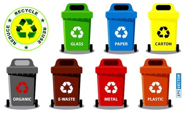 폐기물 분류 개념 또는 다채로운 쓰레기통 또는 쓰레기통 세트는 바구니나 재활용을 할 수 있습니다.