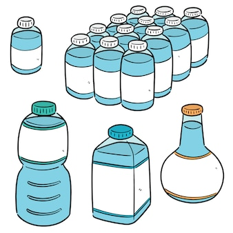 水のボトルのセット