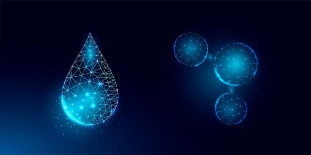 물방울과 물 분자의 집합입니다. 와이어프레임 조명 연결 구조, 3d 그래픽 개념입니다.