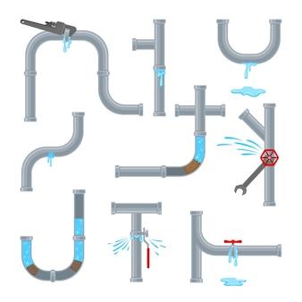 Набор водопроводных труб, изолированные на белом фоне