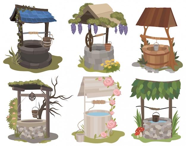 Набор водозаборных скважин. собрание различных милых стилизованных колодцев с цветком, камнями и деревянным.