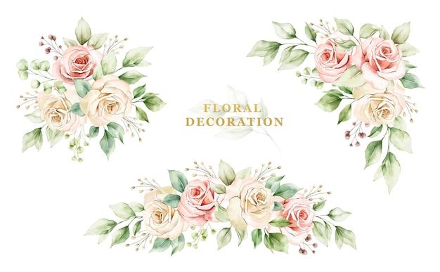 バラと葉の水彩画の配置のセット