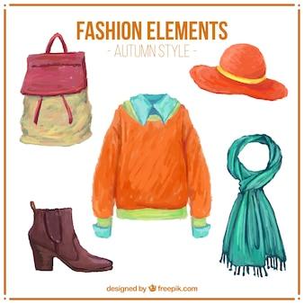 アクセサリーと水彩画の秋服のセット