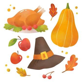 水彩画秋の幸せな感謝祭のイラストのセット