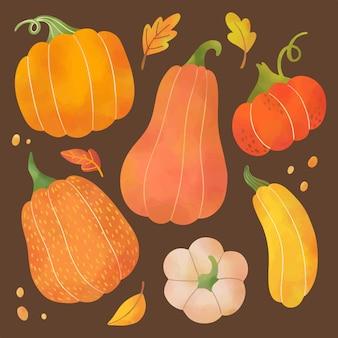 水彩の秋の野菜とカボチャのセット