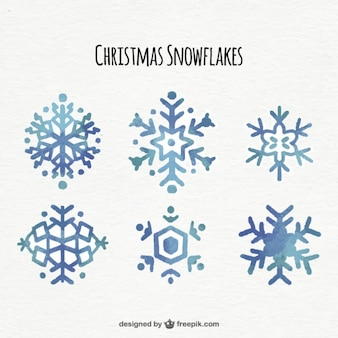 Set of watercolor beautiful snowflakes