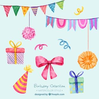 Набор акварели дня рождения декоративных элементов
