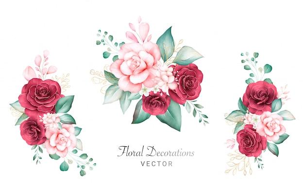 ロゴやウェディングカードの組成の水彩画の花束のセットです。桃と赤いバラ、葉、枝、ゴールドラメの植物装飾イラスト