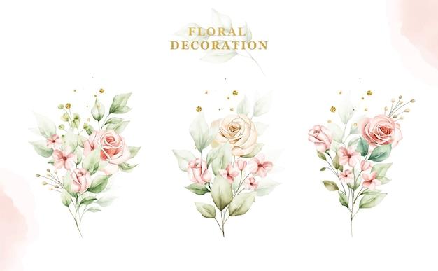 バラと葉の水彩花束のセット