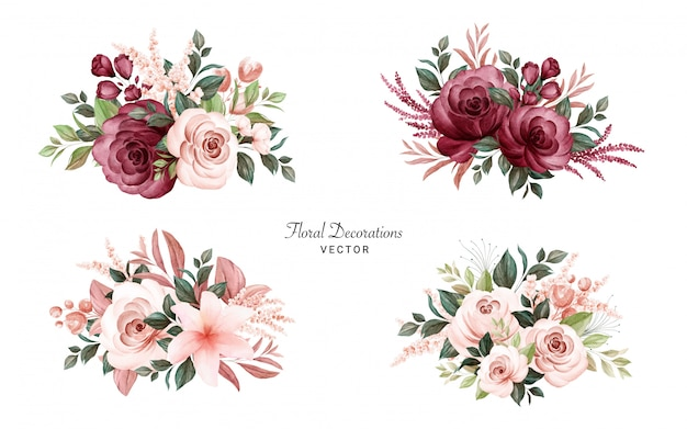 부드러운 갈색과 부르고뉴 장미와 나뭇잎의 수채화 꽃다발의 집합입니다.