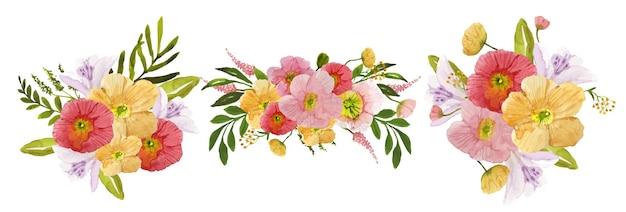 야생화의 수채화 꽃다발 세트