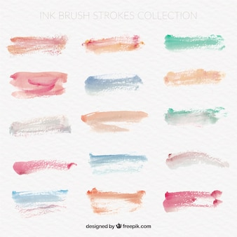 Set of watercolor brushstrokes