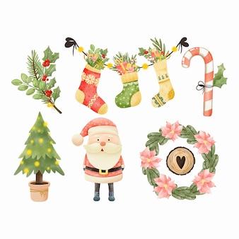 水彩のクリスマスかわいいキャラクターのセット