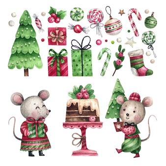 Набор акварельных рождественских элементов и пара мышей