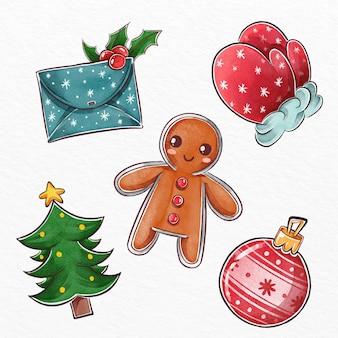 水彩のクリスマス要素のセット
