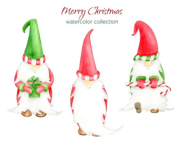 水彩画のクリスマスのノームのセット