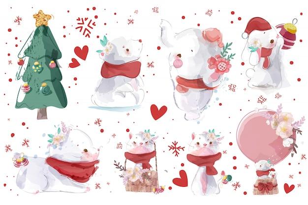 かわいい動物と水彩のクリスマスイラストのセットです。