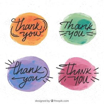 Набор акварельных кругов со словом «спасибо»
