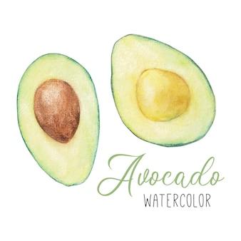 Набор акварельного клипарт с авокадо