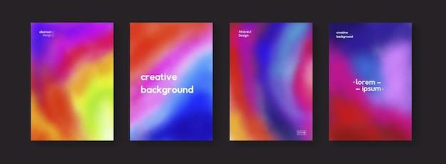 水彩のカラフルな背景のセットです。モダンな抽象的な色の背景。明るいヒッピーのポスターコレクション。サイケデリックアート。