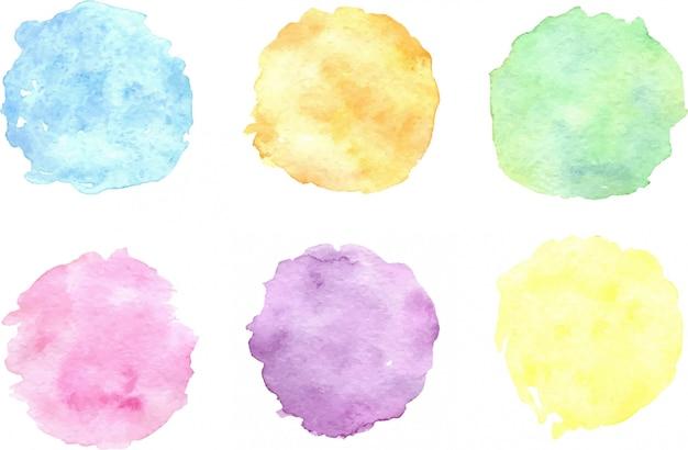 水彩のカラフルなスポットのセット。手描きデザインの芸術的なイラスト。