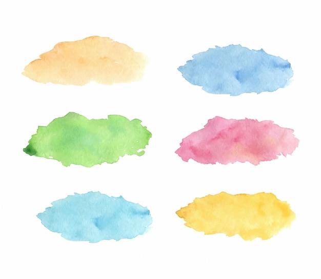 水彩のカラフルなスポットのセット。手描きイラスト