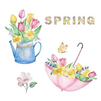 수채색 구성 세트는 봄 꽃, 물뿌리개, 튤립, 수선화, 스노드롭이 있는 우산입니다. 인사말 카드, 초대장, 포스터, 결혼식 장식 및 기타 이미지를 위한 꽃무늬 디자인.