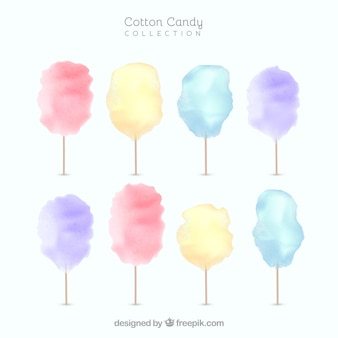 Set of watercolor cotton candy