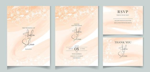 Набор акварельных сливочных свадебных пригласительных билетов с рисованной линией красивой сакуры