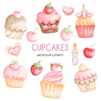 수채화 컵 케이크, 생일 케이크의 요소.