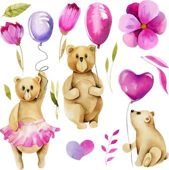 Набор акварельных симпатичных мишек с воздушными шариками
