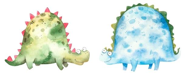 Набор акварельных милых синих и зеленых динозавров