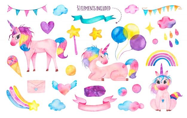 Набор акварельных милых волшебных единорогов с радугой, воздушными шарами, волшебной палочкой