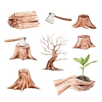 水彩の森林伐採、手描きイラストのセット