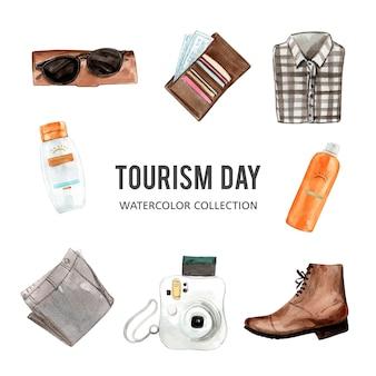 水彩デザインサングラス、財布、シャツイラストのセット