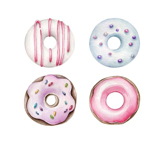 흰색 절연 수채화 도넛 세트