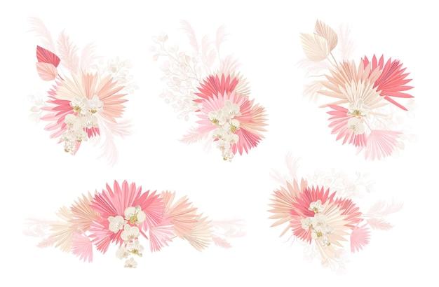 水彩ドライフラワーベクトルセットのセットです。パンパスグラス、乾燥したヤシの葉、蘭、ルナリアの花のイラスト。結婚式の招待状、モダンな装飾、自由奔放に生きる夏のフレームのための花のデザイン要素