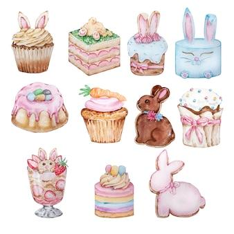 水彩のイースターのお菓子のセット、ベーキング。イースターケーキ、カップケーキ、ケーキ、ジンジャーブレッド。