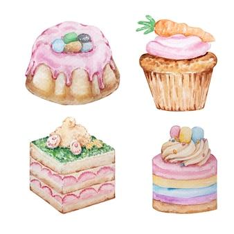 水彩のイースターのお菓子、ペストリーのセットです。カップケーキ、ケーキ、ペストリー。白い背景の上のイースター春手描きイラスト