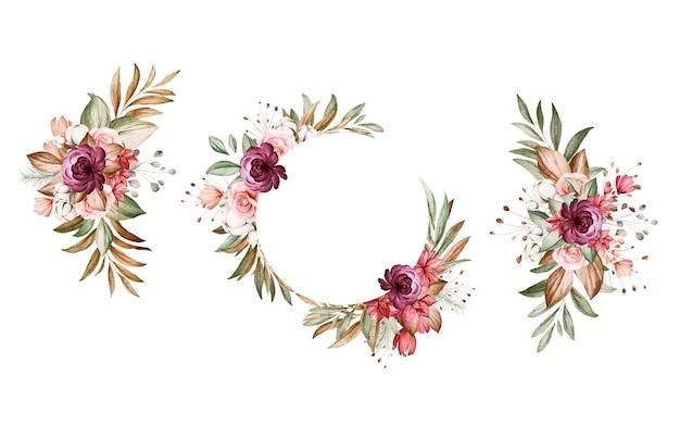 갈색과 부르고뉴와 갈색 장미와 잎의 수채화 꽃 배열의 집합입니다.