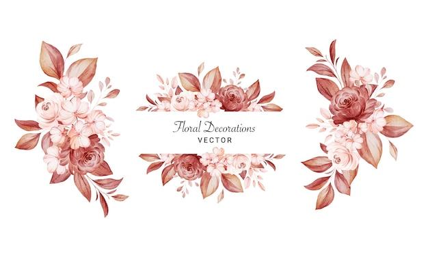 茶色と桃のバラと葉の水彩画のフラワーアレンジメントのセットです。植物装飾イラスト