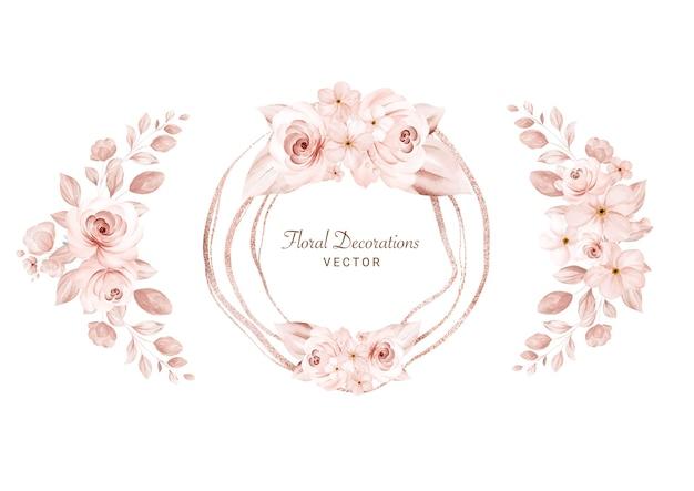 茶色のバラと葉の水彩画のフラワーアレンジメントのセットです。ウェディングカードの植物装飾イラスト