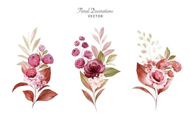 バーガンディと桃のバラと葉の水彩画のフラワーアレンジメントのセットです。植物デコレーションセット