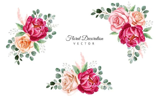 부르고뉴 장미와 잎의 수채화 꽃꽂이 세트